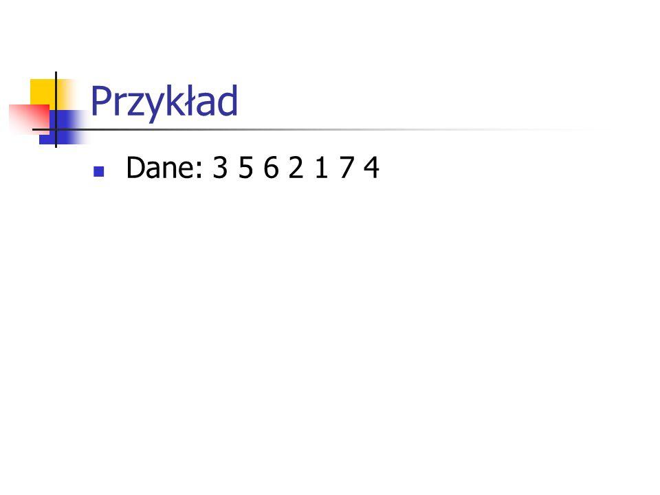 Przykład Dane: 3 5 6 2 1 7 4
