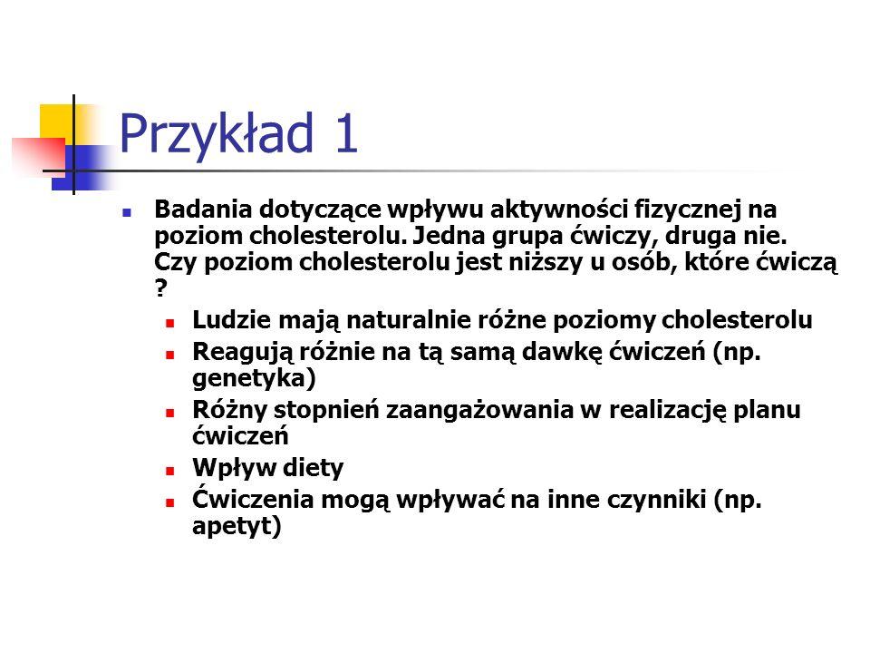 Przykład 1 Badania dotyczące wpływu aktywności fizycznej na poziom cholesterolu. Jedna grupa ćwiczy, druga nie. Czy poziom cholesterolu jest niższy u