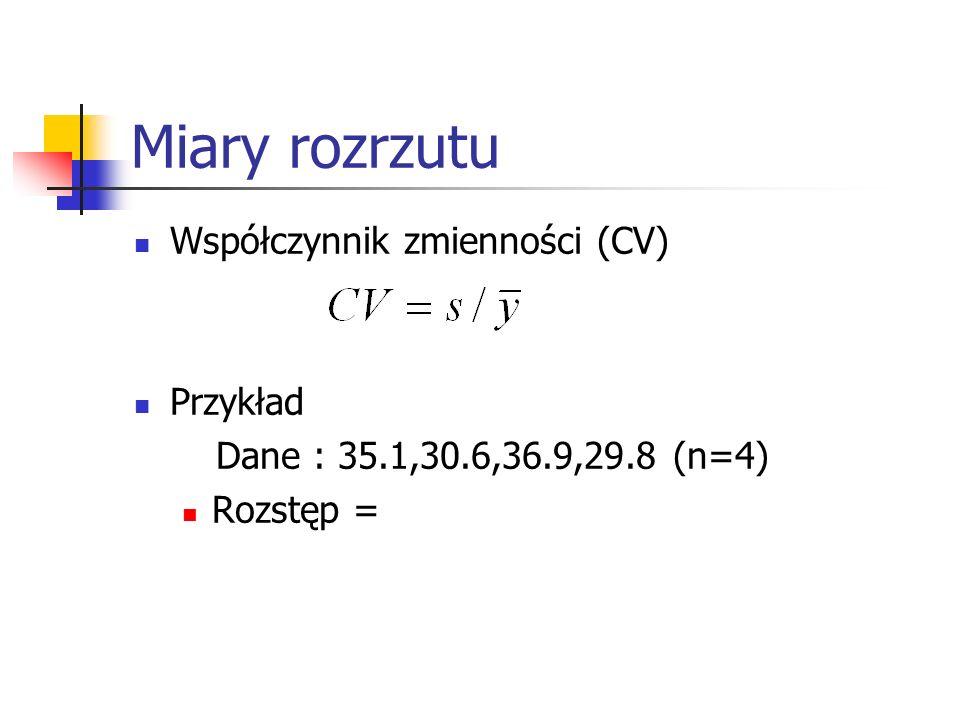 Miary rozrzutu Współczynnik zmienności (CV) Przykład Dane : 35.1,30.6,36.9,29.8 (n=4) Rozstęp =