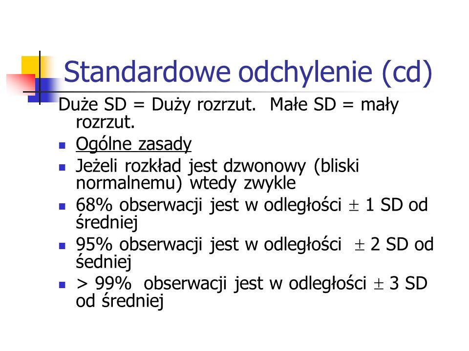 Standardowe odchylenie (cd) Duże SD = Duży rozrzut. Małe SD = mały rozrzut. Ogólne zasady Jeżeli rozkład jest dzwonowy (bliski normalnemu) wtedy zwykl