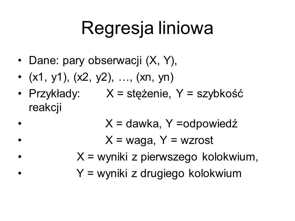 Regresja liniowa Dane: pary obserwacji (X, Y), (x1, y1), (x2, y2), …, (xn, yn) Przykłady: X = stężenie, Y = szybkość reakcji X = dawka, Y =odpowiedź X