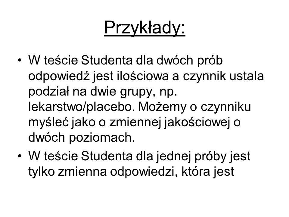Przykłady: W teście Studenta dla dwóch prób odpowiedź jest ilościowa a czynnik ustala podział na dwie grupy, np. lekarstwo/placebo. Możemy o czynniku