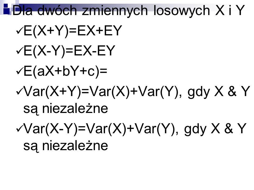 Dla dwóch zmiennych losowych X i Y E(X+Y)=EX+EY E(X-Y)=EX-EY E(aX+bY+c)= Var(X+Y)=Var(X)+Var(Y), gdy X & Y są niezależne Var(X-Y)=Var(X)+Var(Y), gdy X