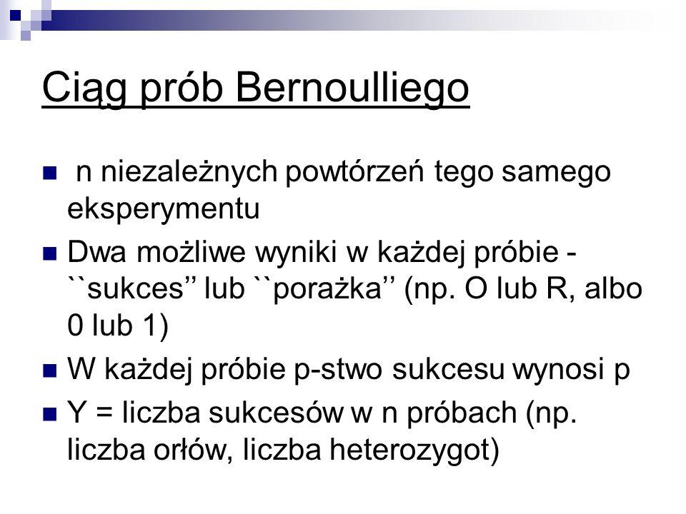 Ciąg prób Bernoulliego n niezależnych powtórzeń tego samego eksperymentu Dwa możliwe wyniki w każdej próbie - ``sukces lub ``porażka (np. O lub R, alb