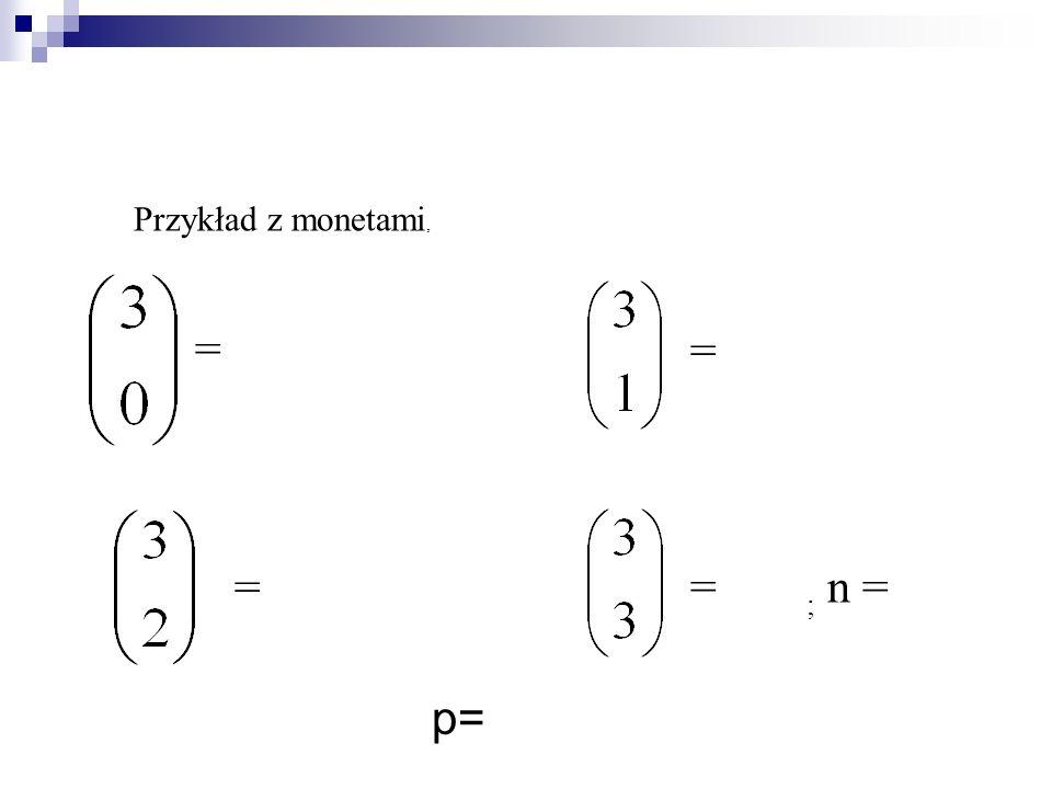 Przykład z monetami, = = = = ; n = p=