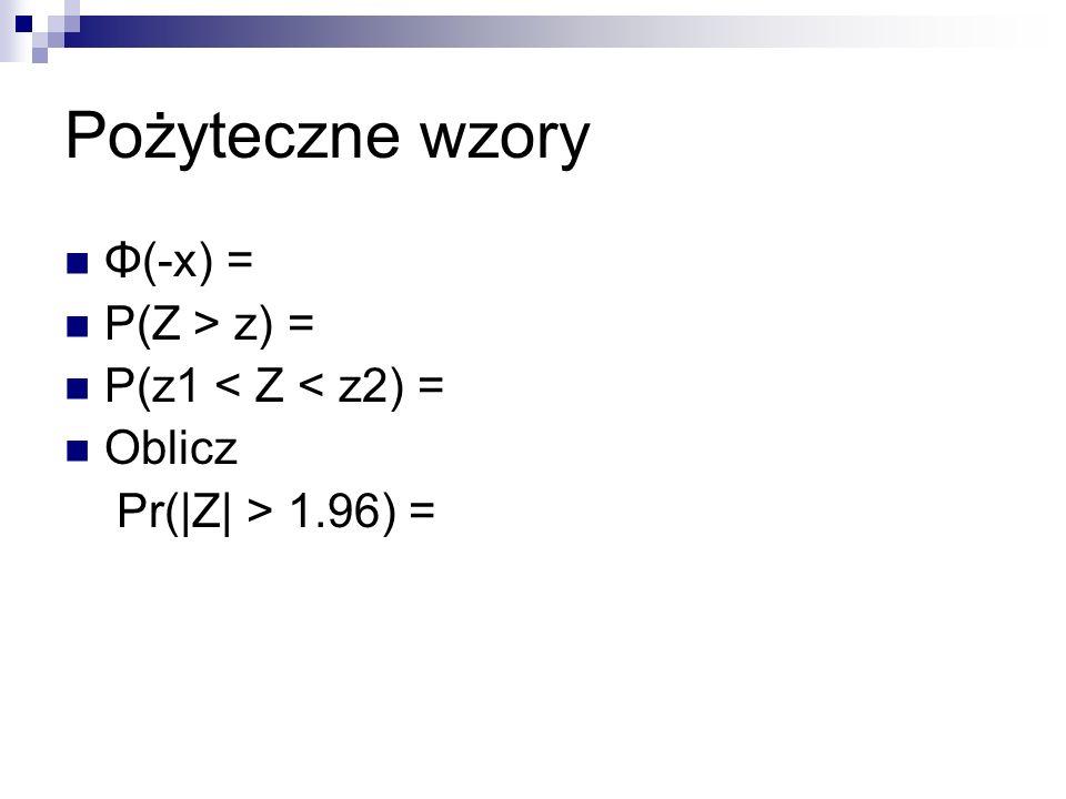 Pożyteczne wzory Φ(-x) = P(Z > z) = P(z1 < Z < z2) = Oblicz Pr(|Z| > 1.96) =