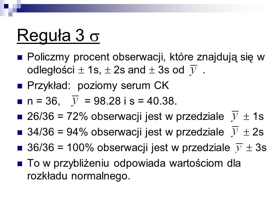 Reguła 3 Policzmy procent obserwacji, które znajdują się w odległości 1s, 2s and 3s od. Przykład: poziomy serum CK n = 36, = 98.28 i s = 40.38. 26/36
