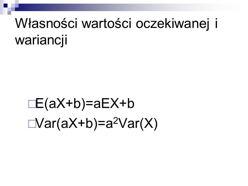 Dla dwóch zmiennych losowych X i Y E(X+Y)=EX+EY E(X-Y)=EX-EY E(aX+bY+c)= Var(X+Y)=Var(X)+Var(Y), gdy X & Y są niezależne Var(X-Y)=Var(X)+Var(Y), gdy X & Y są niezależne