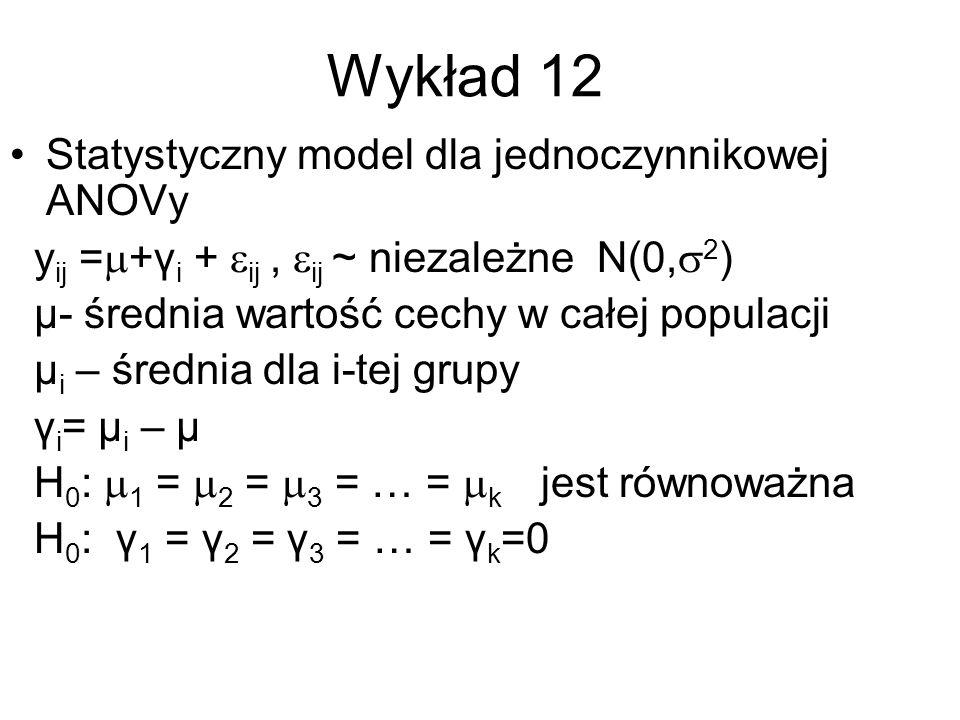 Wykład 12 Statystyczny model dla jednoczynnikowej ANOVy y ij = +γ i + ij, ij ~ niezależne N(0, 2 ) μ- średnia wartość cechy w całej populacji μ i – śr