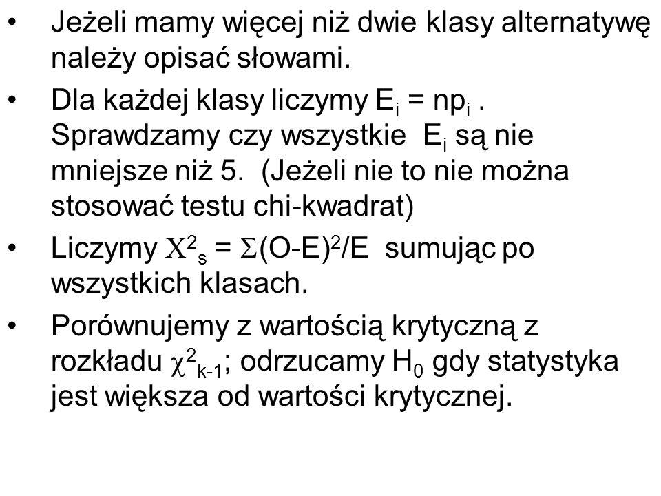 Jeżeli mamy więcej niż dwie klasy alternatywę należy opisać słowami. Dla każdej klasy liczymy E i = np i. Sprawdzamy czy wszystkie E i są nie mniejsze