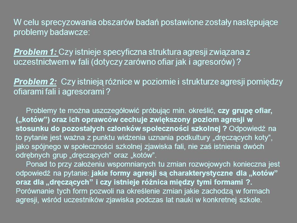 W odpowiedzi na postawione problemy badawcze sformułowano następujące hipotezy: 1.Istnieje specyficzna struktura agresji związana z uczestnictwem w zjawisku fali.