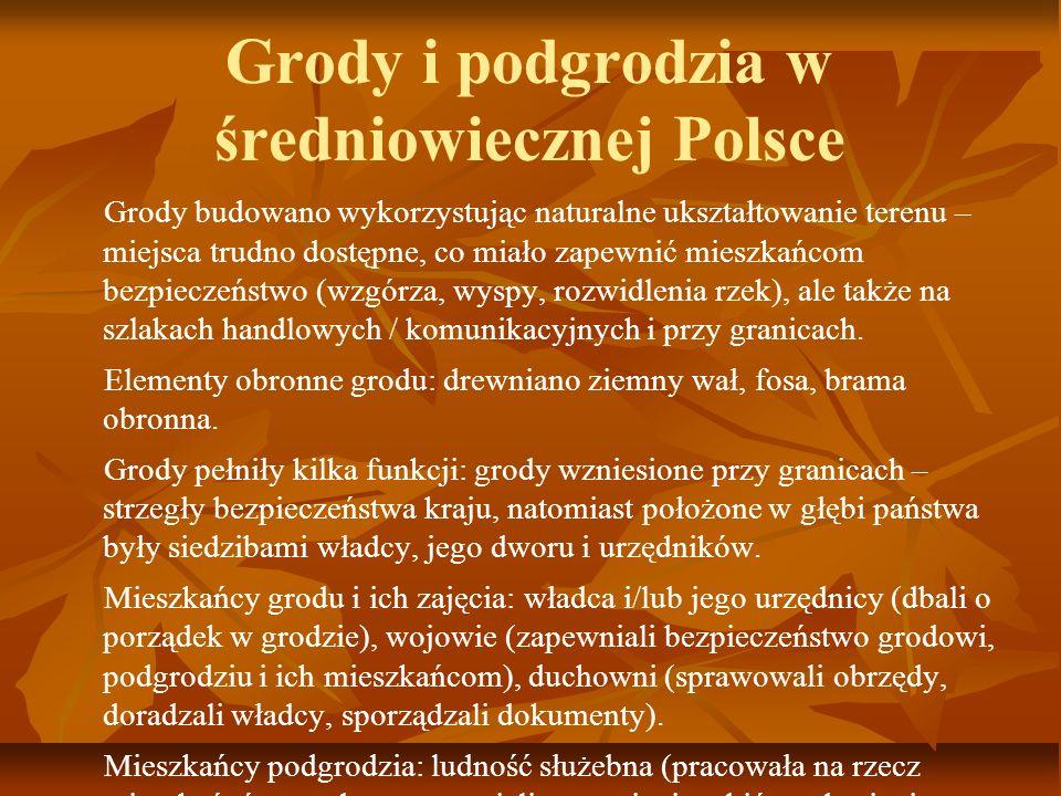 Grody i podgrodzia w średniowiecznej Polsce Grody budowano wykorzystując naturalne ukształtowanie terenu – miejsca trudno dostępne, co miało zapewnić