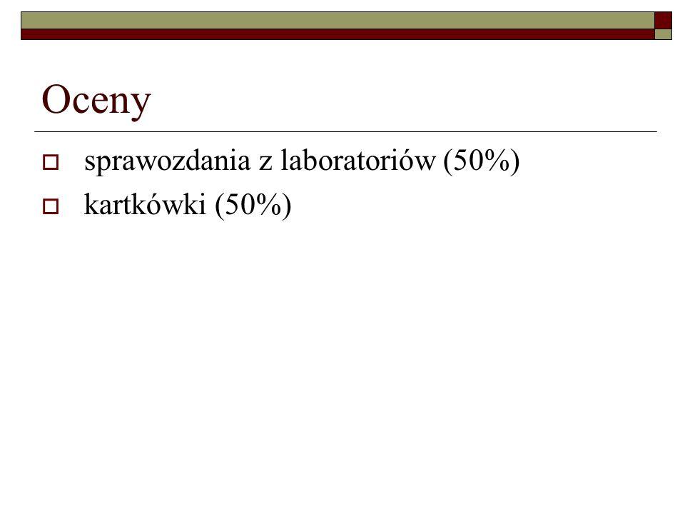 Oceny sprawozdania z laboratoriów (50%) kartkówki (50%)