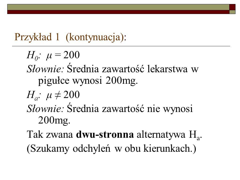 Przykład 1 (kontynuacja): H 0 : μ = 200 Słownie: Średnia zawartość lekarstwa w pigułce wynosi 200mg. H a : μ 200 Słownie: Średnia zawartość nie wynosi