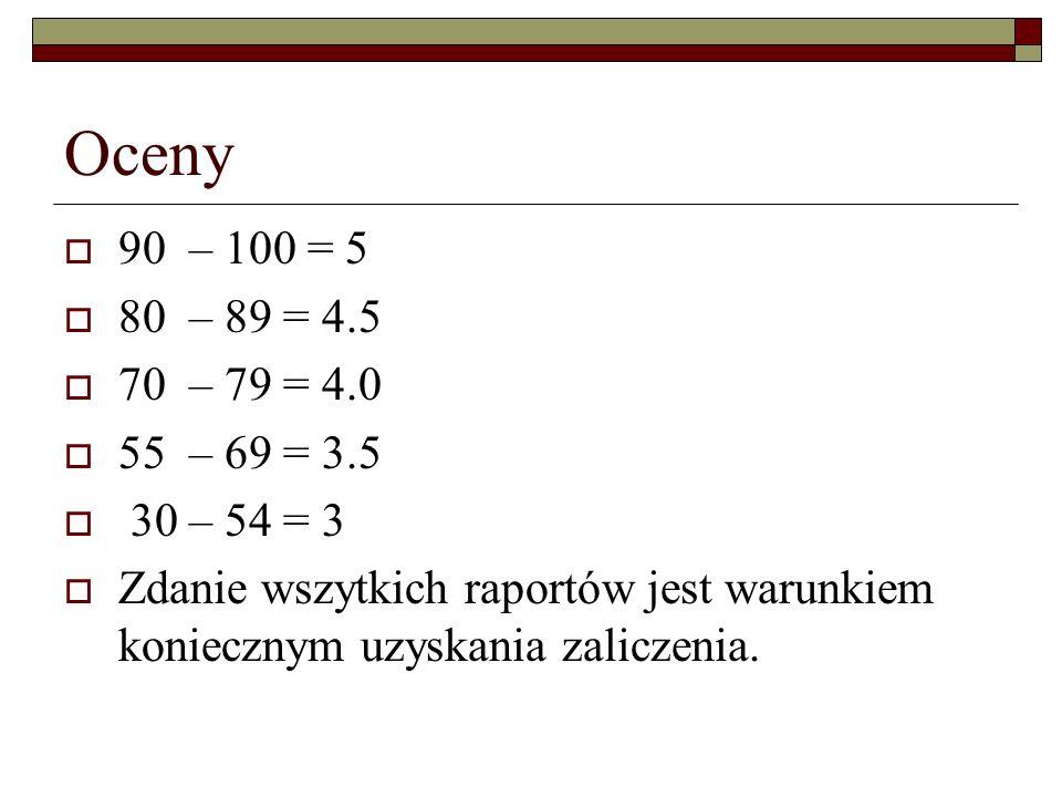 Oceny 90 – 100 = 5 80 – 89 = 4.5 70 – 79 = 4.0 55 – 69 = 3.5 30 – 54 = 3 Zdanie wszytkich raportów jest warunkiem koniecznym uzyskania zaliczenia.