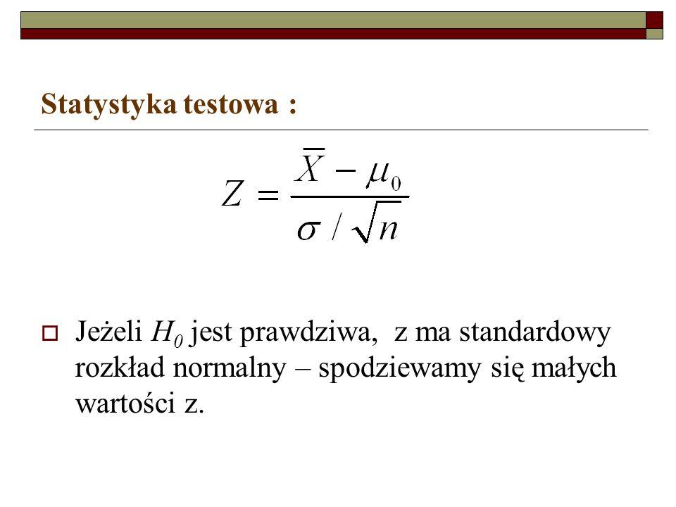 Statystyka testowa : Jeżeli H 0 jest prawdziwa, z ma standardowy rozkład normalny – spodziewamy się małych wartości z.