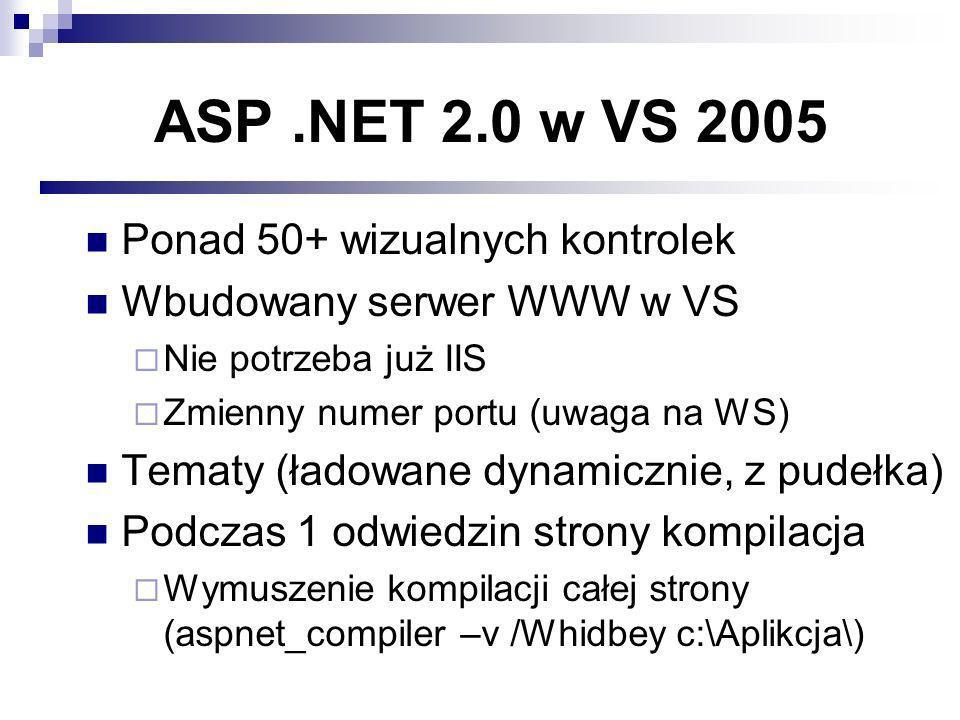 ASP.NET 2.0 w VS 2005 Ponad 50+ wizualnych kontrolek Wbudowany serwer WWW w VS Nie potrzeba już IIS Zmienny numer portu (uwaga na WS) Tematy (ładowane dynamicznie, z pudełka) Podczas 1 odwiedzin strony kompilacja Wymuszenie kompilacji całej strony (aspnet_compiler –v /Whidbey c:\Aplikcja\)