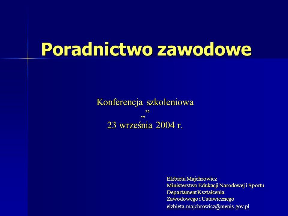 Poradnictwo zawodowe Konferencja szkoleniowa 23 września 2004 r.