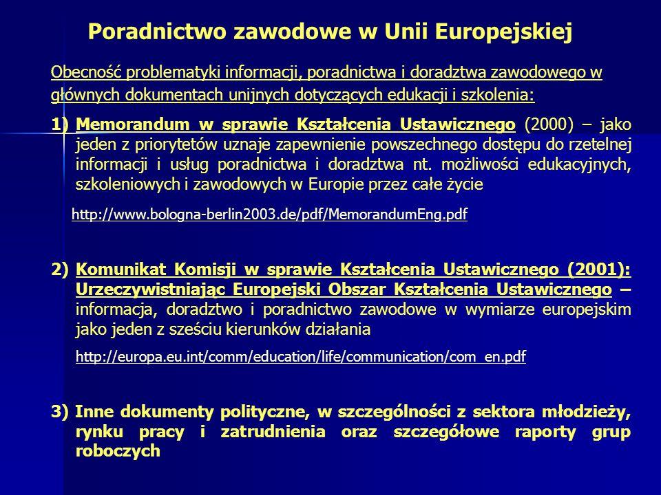 Poradnictwo zawodowe w Unii Europejskiej Obecność problematyki informacji, poradnictwa i doradztwa zawodowego w głównych dokumentach unijnych dotyczących edukacji i szkolenia: 1)Memorandum w sprawie Kształcenia Ustawicznego (2000) – jako jeden z priorytetów uznaje zapewnienie powszechnego dostępu do rzetelnej informacji i usług poradnictwa i doradztwa nt.