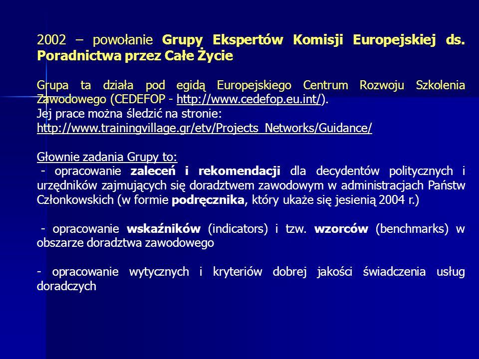 2002 – powołanie Grupy Ekspertów Komisji Europejskiej ds.