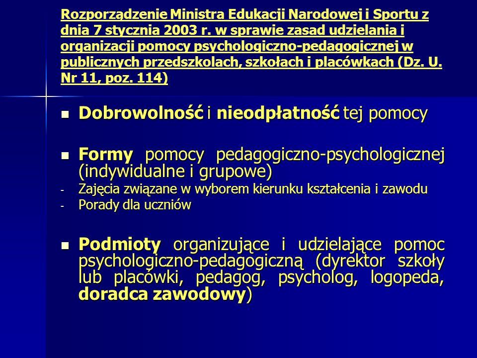 Dobrowolność i nieodpłatność tej pomocy Dobrowolność i nieodpłatność tej pomocy Formy pomocy pedagogiczno-psychologicznej (indywidualne i grupowe) Formy pomocy pedagogiczno-psychologicznej (indywidualne i grupowe) - Zajęcia związane w wyborem kierunku kształcenia i zawodu - Porady dla uczniów Podmioty organizujące i udzielające pomoc psychologiczno-pedagogiczną (dyrektor szkoły lub placówki, pedagog, psycholog, logopeda, doradca zawodowy) Podmioty organizujące i udzielające pomoc psychologiczno-pedagogiczną (dyrektor szkoły lub placówki, pedagog, psycholog, logopeda, doradca zawodowy)