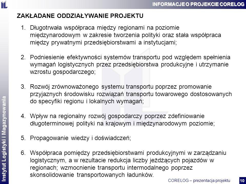Instytut Logistyki i Magazynowania CORELOG – prezentacja projektu 2 10 INFORMACJE O PROJEKCIE CORELOG ZAKŁADANE ODDZIAŁYWANIE PROJEKTU 1.Długotrwała współpraca między regionami na poziomie międzynarodowym w zakresie tworzenia polityki oraz stała współpraca między prywatnymi przedsiębiorstwami a instytucjami; 2.Podniesienie efektywności systemów transportu pod względem spełnienia wymagań logistycznych przez przedsiębiorstwa produkcyjne i utrzymanie wzrostu gospodarczego; 3.Rozwój zrównoważonego systemu transportu poprzez promowanie przyjaznych środowisku rozwiązań transportu towarowego dostosowanych do specyfiki regionu i lokalnych wymagań; 4.Wpływ na regionalny rozwój gospodarczy poprzez zdefiniowanie długoterminowej polityki na krajowym i międzynarodowym poziomie; 5.Propagowanie wiedzy i doświadczeń; 6.Współpraca pomiędzy przedsiębiorstwami produkcyjnymi w zarządzaniu logistycznym, a w rezultacie redukcja liczby jeżdżących pojazdów w regionach; wzmocnienie transportu intermodalnego poprzez skonsolidowanie transportowanych ładunków.