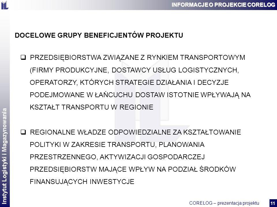 Instytut Logistyki i Magazynowania CORELOG – prezentacja projektu 2 11 INFORMACJE O PROJEKCIE CORELOG DOCELOWE GRUPY BENEFICJENTÓW PROJEKTU PRZEDSIĘBIORSTWA ZWIĄZANE Z RYNKIEM TRANSPORTOWYM (FIRMY PRODUKCYJNE, DOSTAWCY USŁUG LOGISTYCZNYCH, OPERATORZY, KTÓRYCH STRATEGIE DZIAŁANIA I DECYZJE PODEJMOWANE W ŁAŃCUCHU DOSTAW ISTOTNIE WPŁYWAJĄ NA KSZTAŁT TRANSPORTU W REGIONIE REGIONALNE WŁADZE ODPOWIEDZIALNE ZA KSZTAŁTOWANIE POLITYKI W ZAKRESIE TRANSPORTU, PLANOWANIA PRZESTRZENNEGO, AKTYWIZACJI GOSPODARCZEJ PRZEDSIĘBIORSTW MAJĄCE WPŁYW NA PODZIAŁ ŚRODKÓW FINANSUJĄCYCH INWESTYCJE