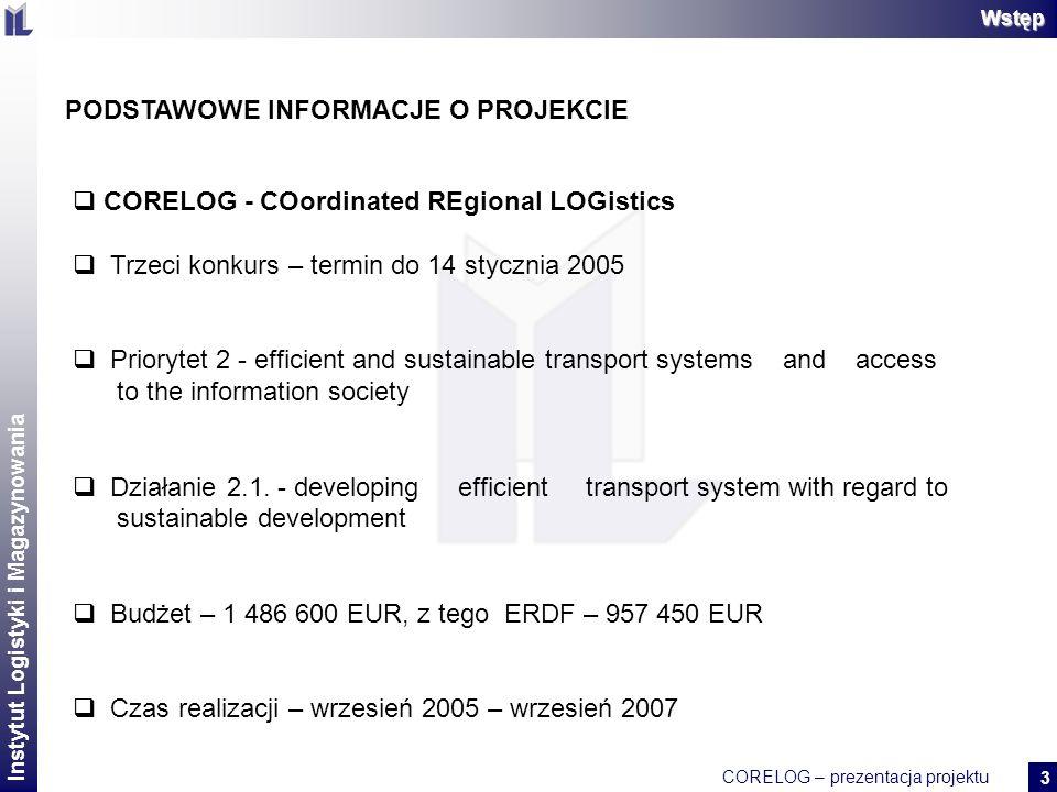 Instytut Logistyki i Magazynowania CORELOG – prezentacja projektu 2 14 DOŚWIADCZENIA – FAZA WNIOSKOWANIA Pomysł należy skonsultować z lokalnymi partnerami, którzy na etapie realizacji będą współpracować w projekcie Należy dokładnie przeczytać wytyczne Przy konstruowaniu budżetu należy wziąć pod uwagę kwestię płynności finansowej.