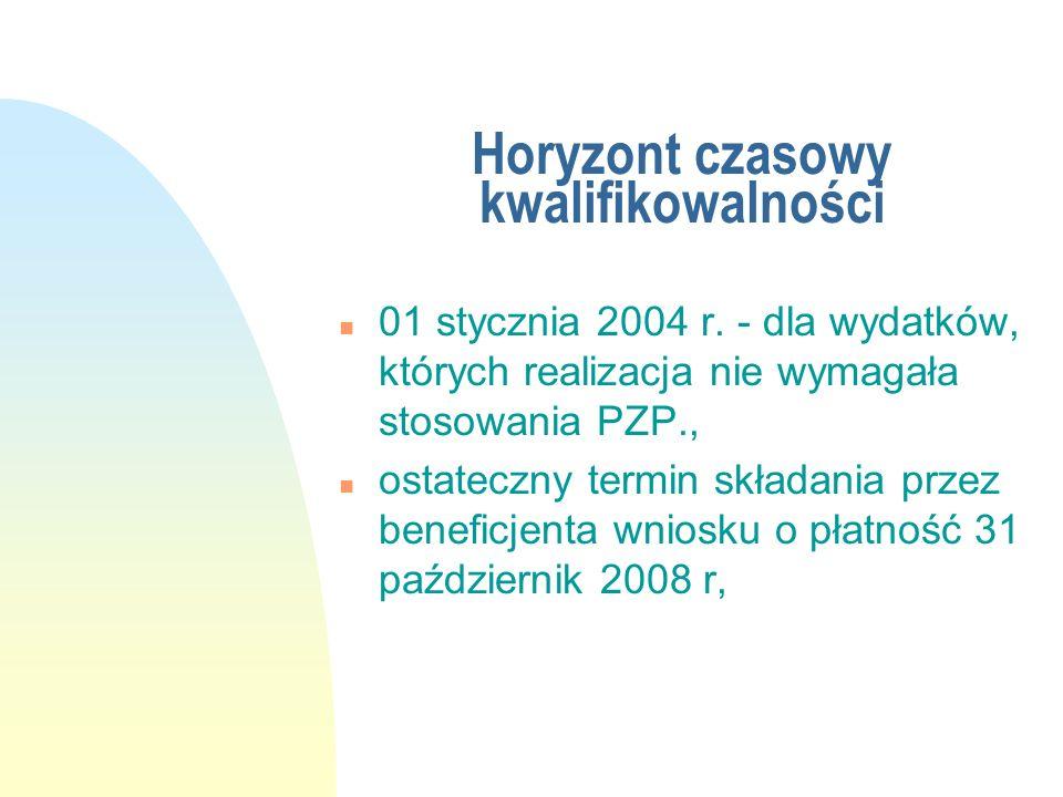 Horyzont czasowy kwalifikowalności n 01 stycznia 2004 r. - dla wydatków, których realizacja nie wymagała stosowania PZP., n ostateczny termin składani