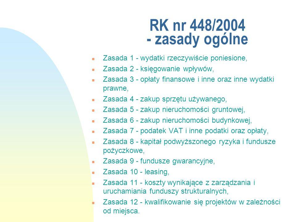 RK nr 448/2004 - zasady ogólne n Zasada 1 - wydatki rzeczywiście poniesione, n Zasada 2 - księgowanie wpływów, n Zasada 3 - opłaty finansowe i inne or