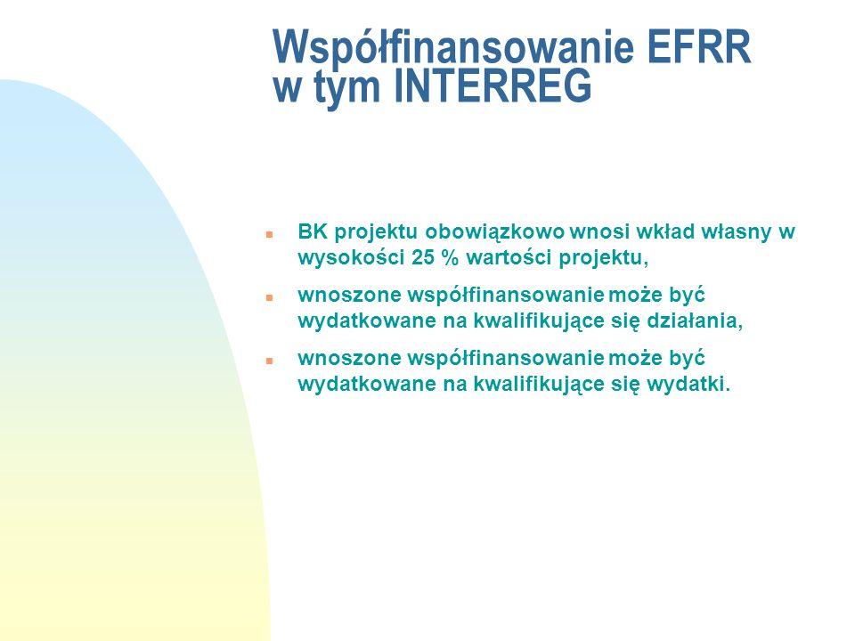 Współfinansowanie EFRR w tym INTERREG n BK projektu obowiązkowo wnosi wkład własny w wysokości 25 % wartości projektu, n wnoszone współfinansowanie mo