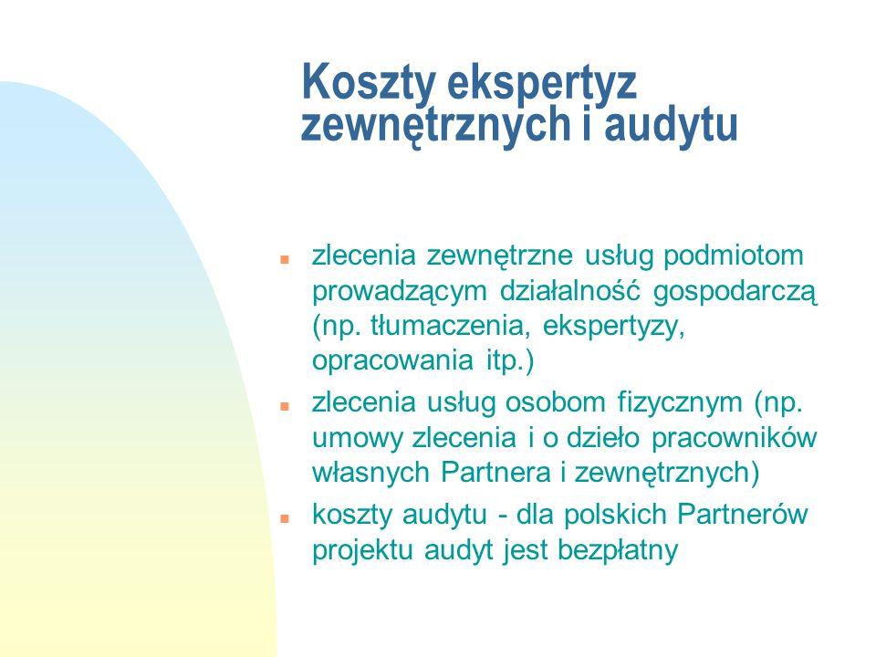 Koszty ekspertyz zewnętrznych i audytu n zlecenia zewnętrzne usług podmiotom prowadzącym działalność gospodarczą (np. tłumaczenia, ekspertyzy, opracow