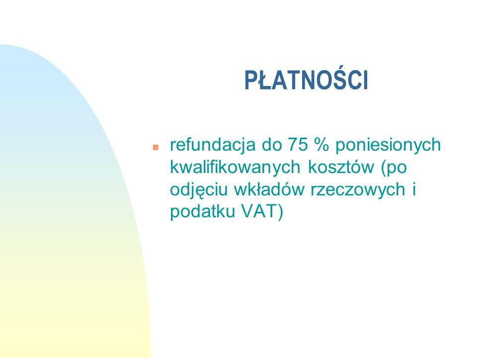 PŁATNOŚCI n refundacja do 75 % poniesionych kwalifikowanych kosztów (po odjęciu wkładów rzeczowych i podatku VAT)