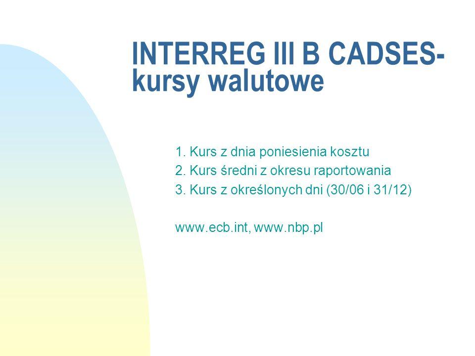 INTERREG III B CADSES- kursy walutowe 1. Kurs z dnia poniesienia kosztu 2. Kurs średni z okresu raportowania 3. Kurs z określonych dni (30/06 i 31/12)