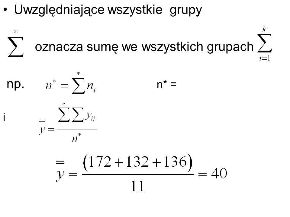 Uwzględniające wszystkie grupy oznacza sumę we wszystkich grupach np. n* = i