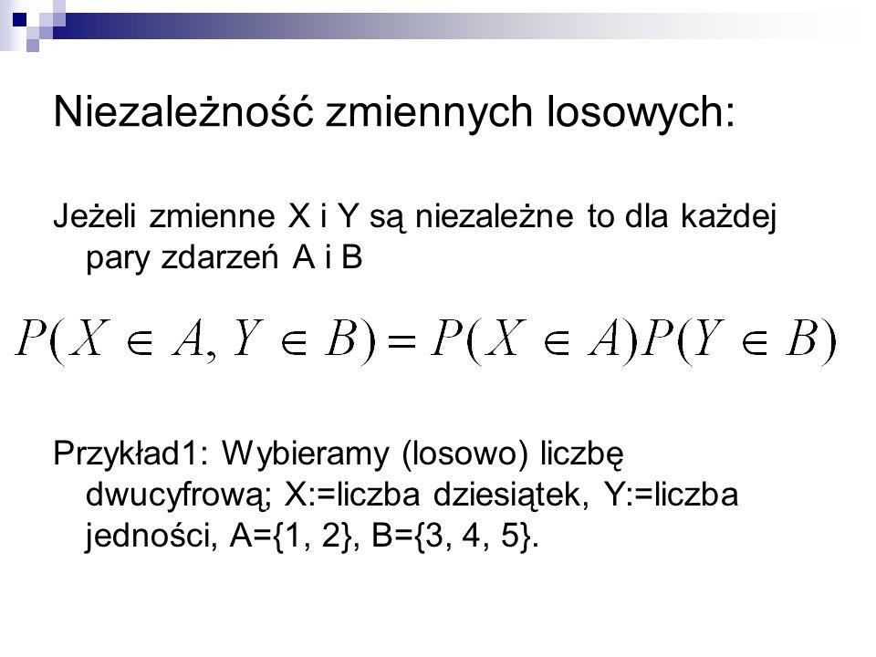 Niezależność zmiennych losowych: Jeżeli zmienne X i Y są niezależne to dla każdej pary zdarzeń A i B Przykład1: Wybieramy (losowo) liczbę dwucyfrową;