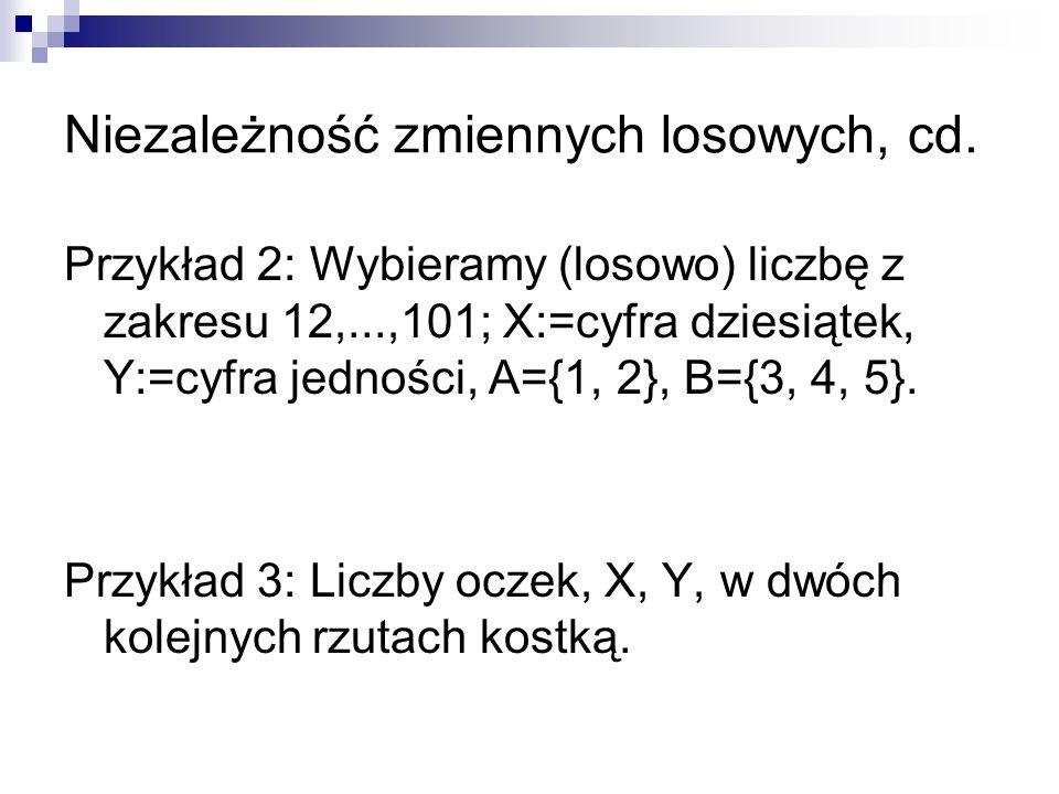 Niezależność zmiennych losowych, cd. Przykład 2: Wybieramy (losowo) liczbę z zakresu 12,...,101; X:=cyfra dziesiątek, Y:=cyfra jedności, A={1, 2}, B={
