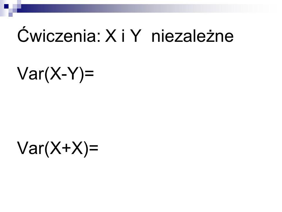 Ćwiczenia: X i Y niezależne Var(X-Y)= Var(X+X)=