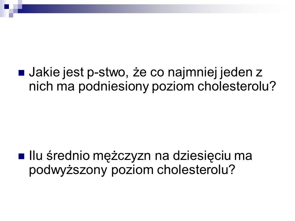 Jakie jest p-stwo, że co najmniej jeden z nich ma podniesiony poziom cholesterolu? Ilu średnio mężczyzn na dziesięciu ma podwyższony poziom cholestero