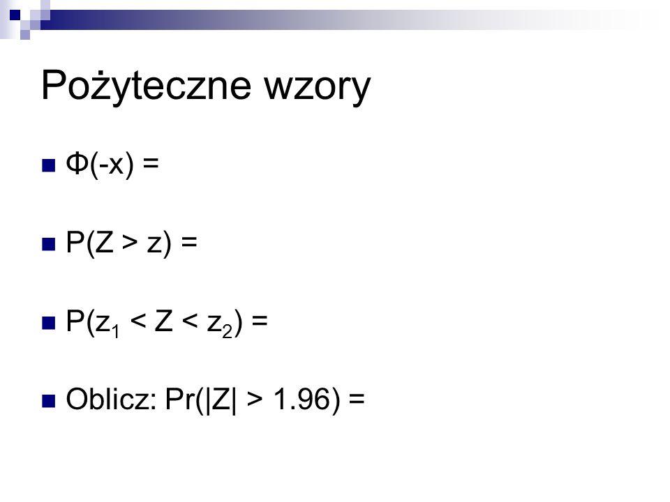 Pożyteczne wzory Φ(-x) = P(Z > z) = P(z 1 < Z < z 2 ) = Oblicz: Pr(|Z| > 1.96) =