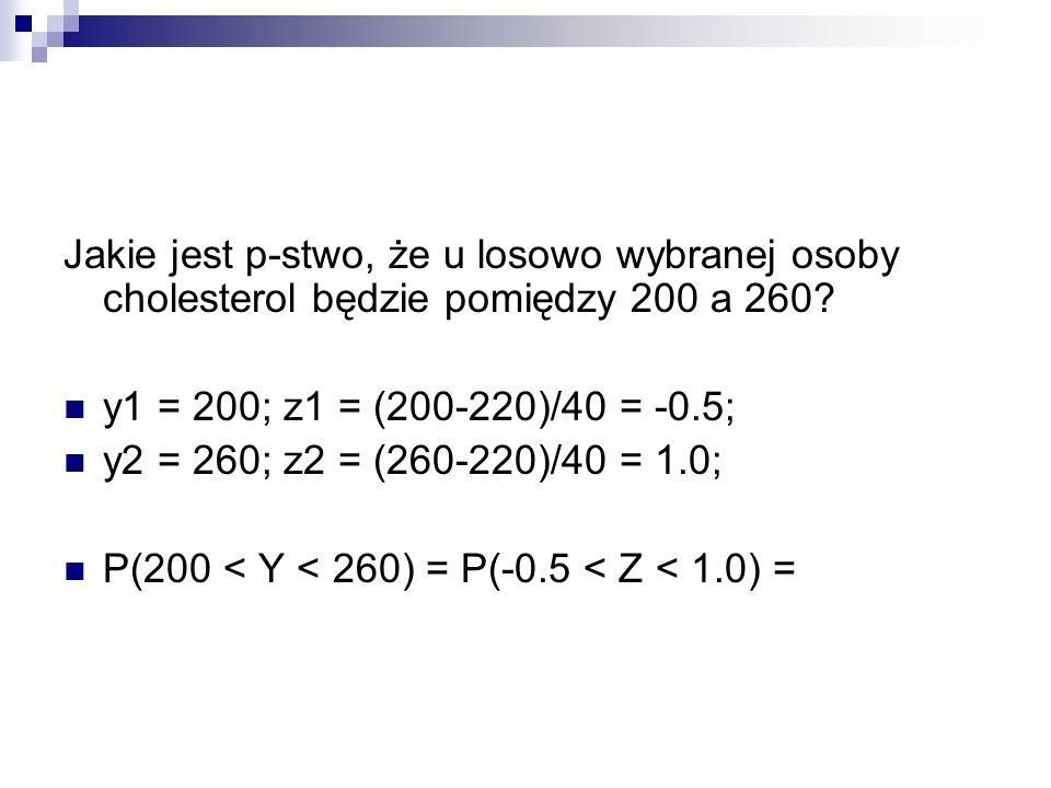 Jakie jest p-stwo, że u losowo wybranej osoby cholesterol będzie pomiędzy 200 a 260? y1 = 200; z1 = (200-220)/40 = -0.5; y2 = 260; z2 = (260-220)/40 =