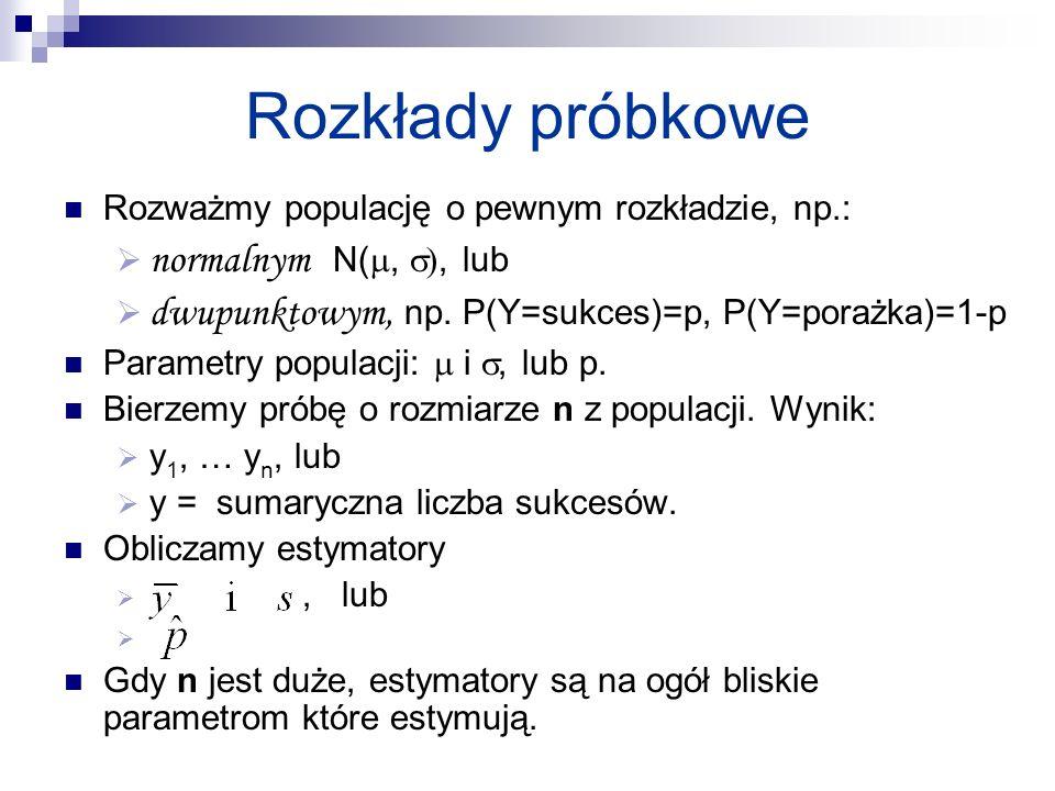 Rozkłady próbkowe Rozważmy populację o pewnym rozkładzie, np.: normalnym N(, ), lub dwupunktowym, np. P(Y=sukces)=p, P(Y=porażka)=1-p Parametry popula