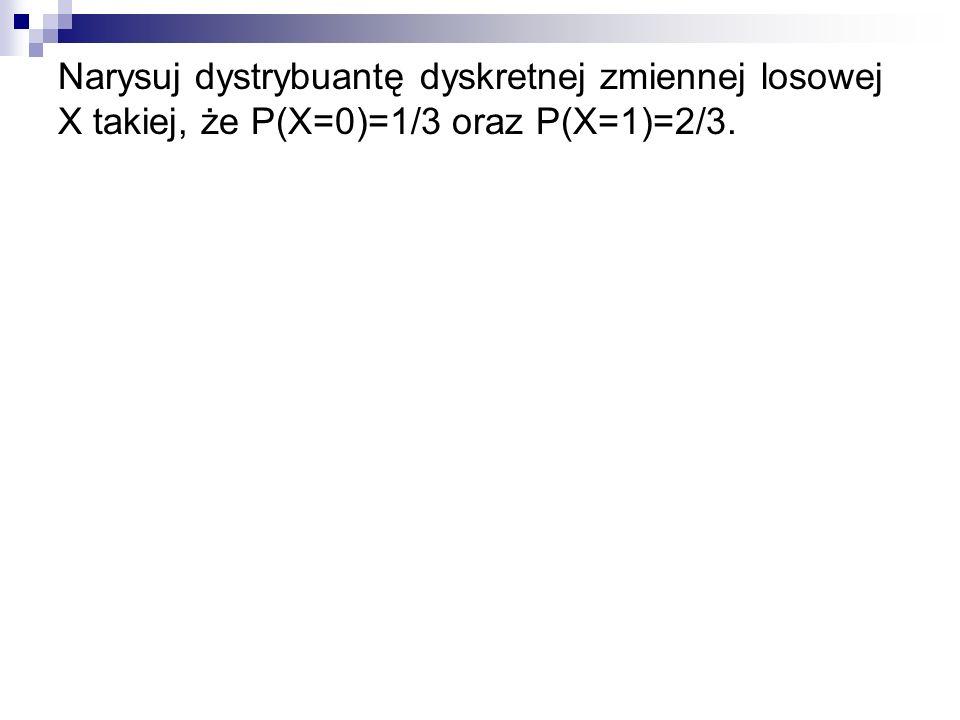 Narysuj dystrybuantę dyskretnej zmiennej losowej X takiej, że P(X=0)=1/3 oraz P(X=1)=2/3.