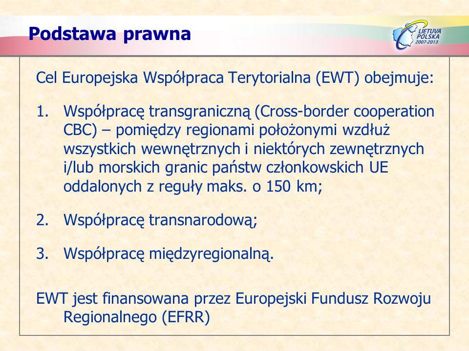 Podstawa prawna Cel Europejska Współpraca Terytorialna (EWT) obejmuje: 1.Współpracę transgraniczną (Cross-border cooperation CBC) – pomiędzy regionami położonymi wzdłuż wszystkich wewnętrznych i niektórych zewnętrznych i/lub morskich granic państw członkowskich UE oddalonych z reguły maks.