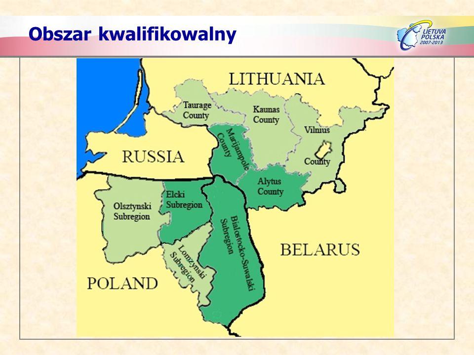 Po polskiej stronie obszar kwalifikowalny obejmuje: - Subregion Białostocko-Suwalski (11 powiatów) - Subregion Ełcki (6 powiatów) Regiony przylegające: - Subregion Łomżyński (6 powiatów) - Subregion Olsztyński (7 powiatów)