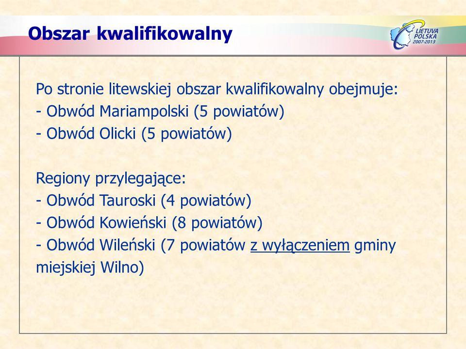 Obszar kwalifikowalny Po stronie litewskiej obszar kwalifikowalny obejmuje: - Obwód Mariampolski (5 powiatów) - Obwód Olicki (5 powiatów) Regiony przylegające: - Obwód Tauroski (4 powiatów) - Obwód Kowieński (8 powiatów) - Obwód Wileński (7 powiatów z wyłączeniem gminy miejskiej Wilno)