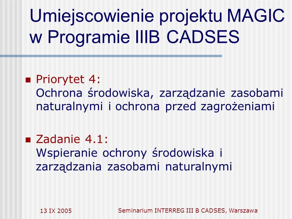 13 IX 2005Seminarium INTERREG III B CADSES, Warszawa Umiejscowienie projektu MAGIC w Programie IIIB CADSES Priorytet 4: Ochrona środowiska, zarządzanie zasobami naturalnymi i ochrona przed zagrożeniami Zadanie 4.1: Wspieranie ochrony środowiska i zarządzania zasobami naturalnymi
