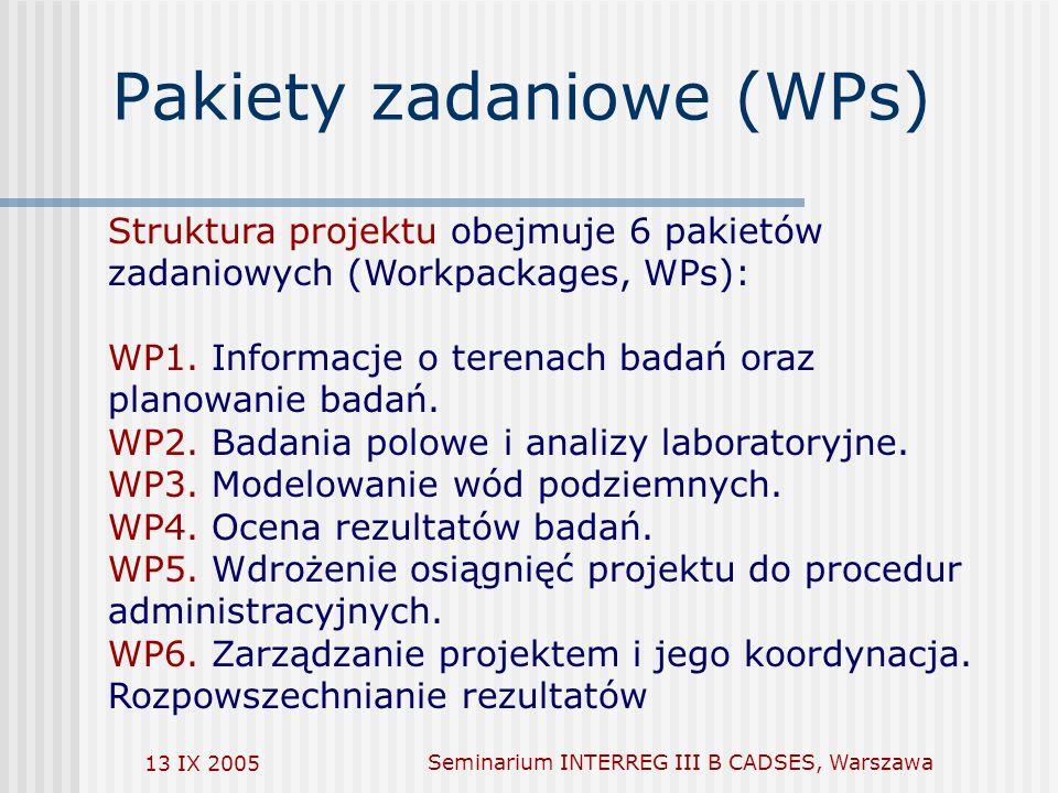 13 IX 2005Seminarium INTERREG III B CADSES, Warszawa Pakiety zadaniowe (WPs) Struktura projektu obejmuje 6 pakietów zadaniowych (Workpackages, WPs): WP1.