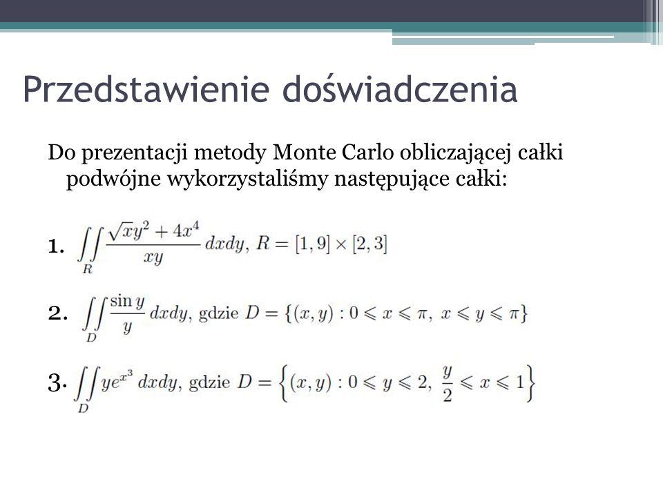 Wynikiem losowania jest informacja, że z n wszystkich prób k było trafionych, zatem pole koła wynosi: gdzie P jest polem kwadratu opisanego na kole Przykład ten ilustruje ogólny sposób działania metody Monte Carlo 1 2 3 4 nk … k-1