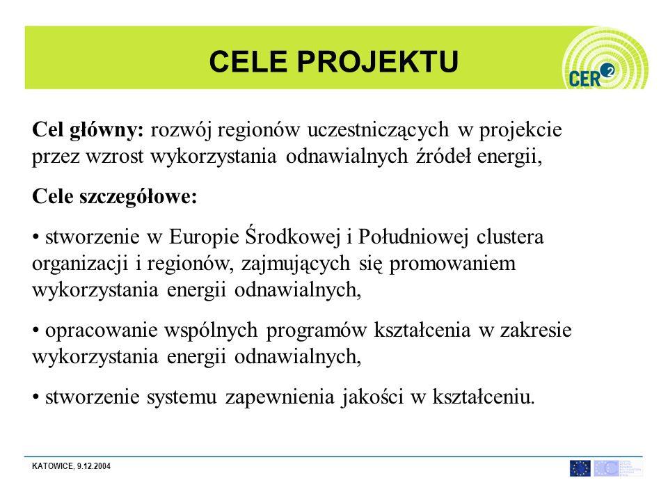 KATOWICE, 9.12.2004 CELE PROJEKTU Cel główny: rozwój regionów uczestniczących w projekcie przez wzrost wykorzystania odnawialnych źródeł energii, Cele szczegółowe: stworzenie w Europie Środkowej i Południowej clustera organizacji i regionów, zajmujących się promowaniem wykorzystania energii odnawialnych, opracowanie wspólnych programów kształcenia w zakresie wykorzystania energii odnawialnych, stworzenie systemu zapewnienia jakości w kształceniu.